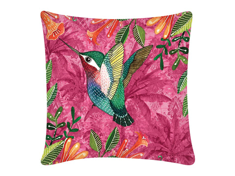 Cushion Cover, Square (Palm Bird - Pink)