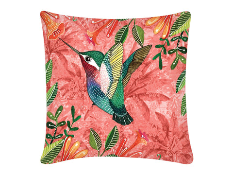 Cushion Cover, Square (Palm Bird - Peach)