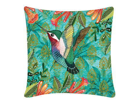 Cushion Cover, Square (Palm Bird - Dark Aqua)