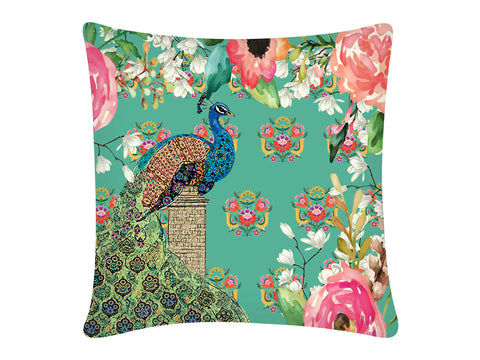 Cushion Cover, Square (Single Peacock - Aqua)
