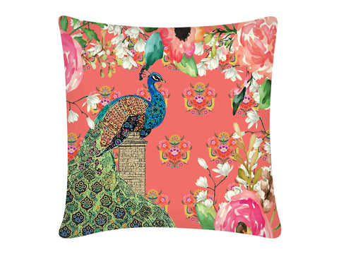 Cushion Cover, Square (Single Peacock - Peach)
