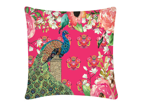 Cushion Cover Square-Single Peacock Pink