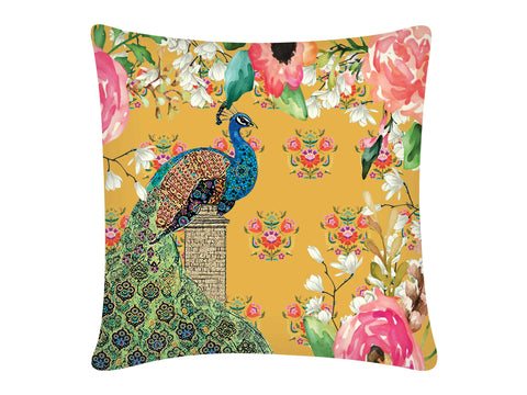 Cushion Cover, Square (Single Peacock - Yellow)