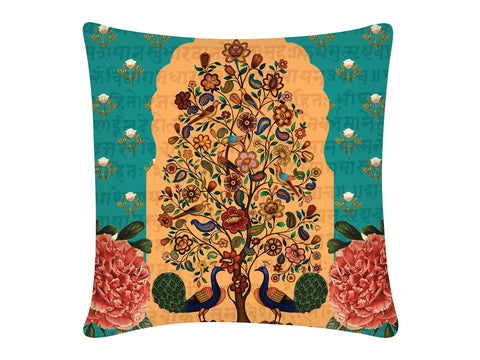 Cushion Cover, Square (Tree Of Life - Dark Aqua)