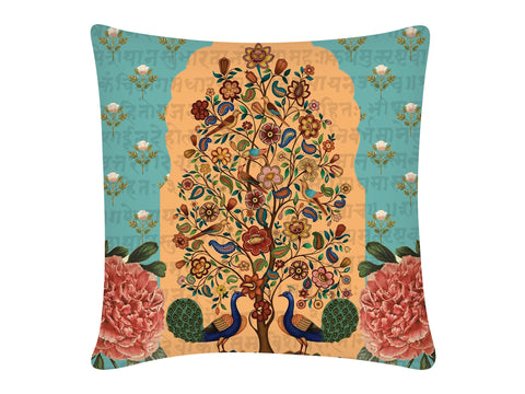 Cushion Cover, Square (Tree Of Life - Light Aqua)