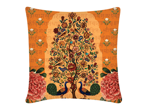 Cushion Cover, Square (Tree Of Life - Orange)