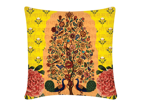 Cushion Cover, Square (Tree Of Life - Yellow)