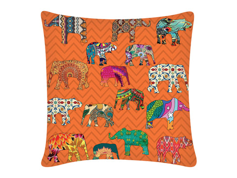 Cushion Cover, Square (ZZ Elephant - Orange)