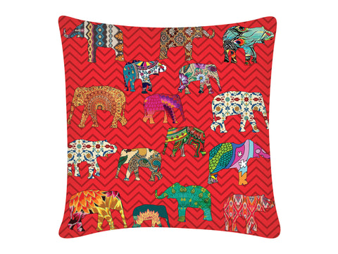Cushion Cover, Square (ZZ Elephant - Red)