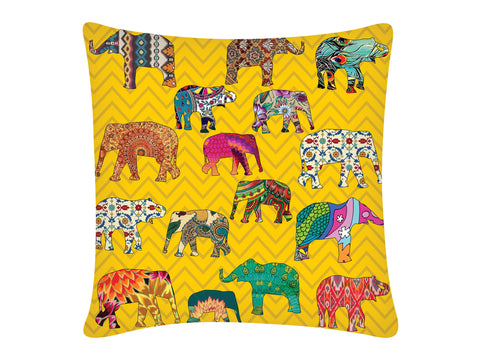 Cushion Cover, Square (ZZ Elephant - Yellow)