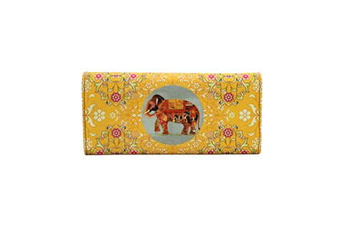 Flap Wallet - Oriental Elephant Yellow