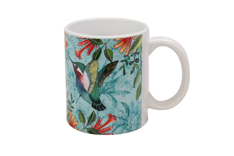 Mug, Large (Palm Bird - Light Aqua)