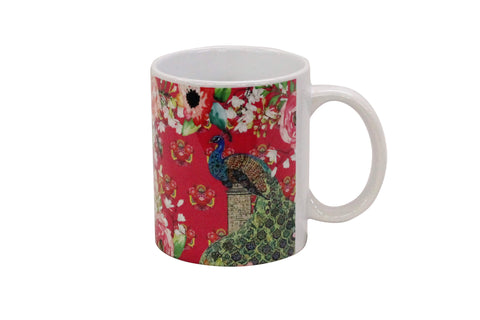 Mug, Large (Single Peacock - Pink)