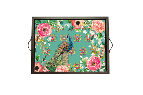 Tray,  Small (Single Peacock - Aqua)