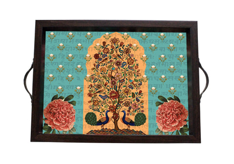 Tray, Small (Tree Of Life - Light Aqua)