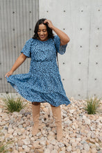 Load image into Gallery viewer, Fall Fancy Tiered Dress In Blue Dawn