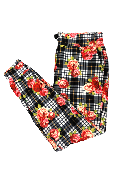 Roses on Plaid Joggers