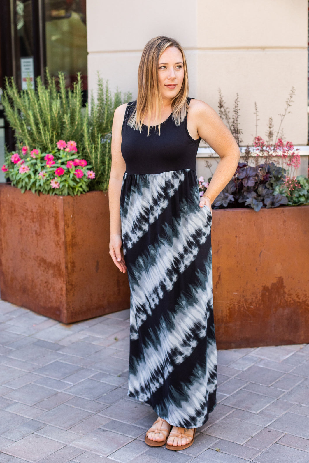 Tie Dye Tank Maxi Dress - Grey