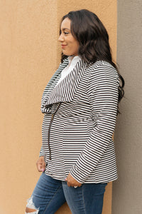 Business Casual Striped Jacket in Black