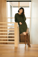 Load image into Gallery viewer, Diamond Details Sweater Dress in Olive