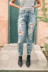 Holier Than Thou Destroyed Boyfriend Jeans