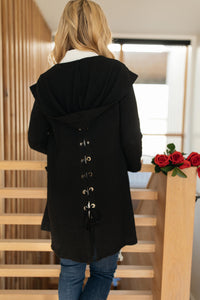 Hooded and Laced Cardigan in Black