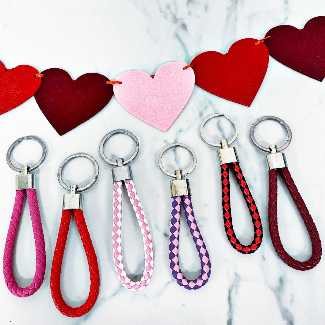 Vegan Leather Braided Keychains // Valentine's