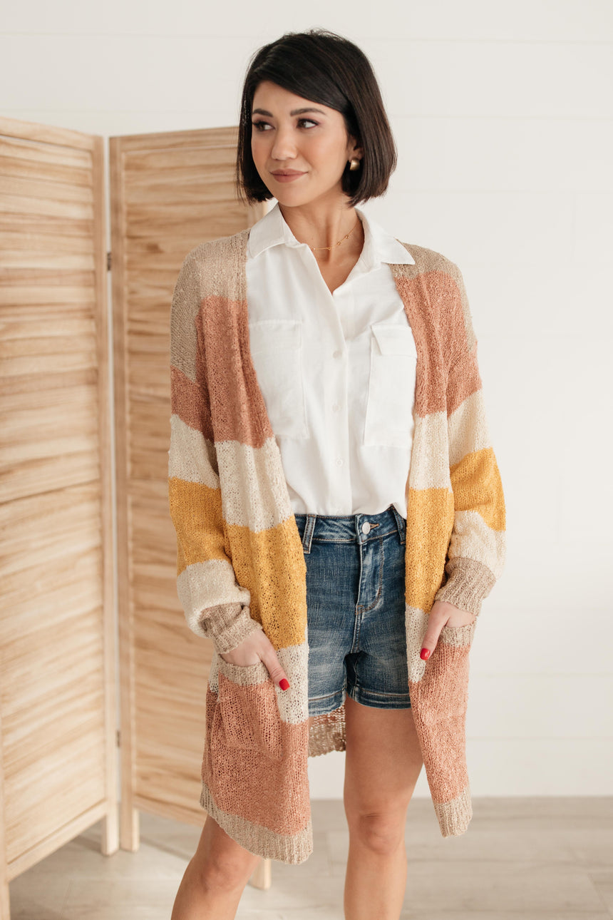 Sheer and Classic Cardigan in Mauve