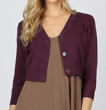 Load image into Gallery viewer, Plum sweater shrug