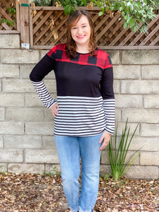 Plaid Stripe Top