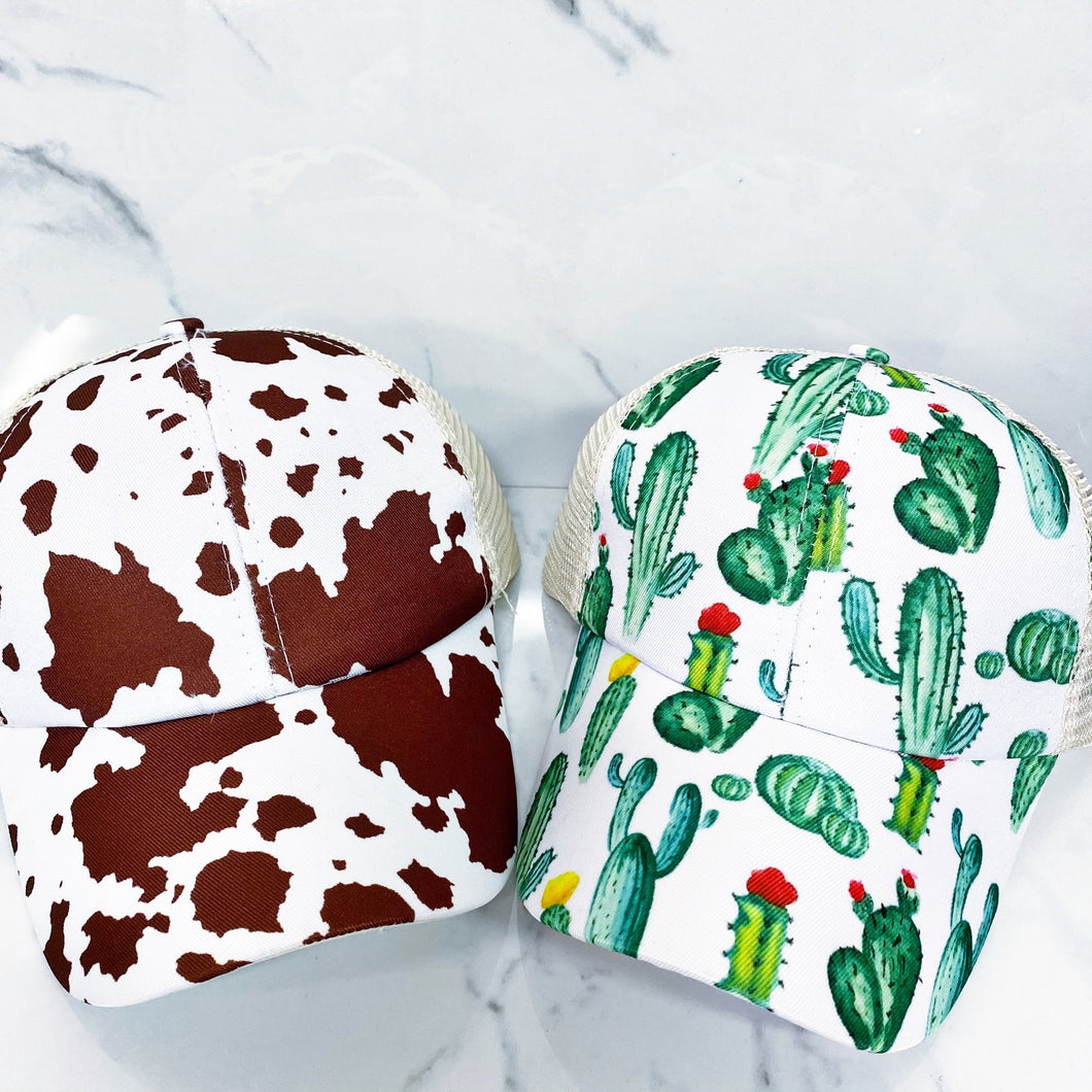 Cactus or Cow Print Pony Hats