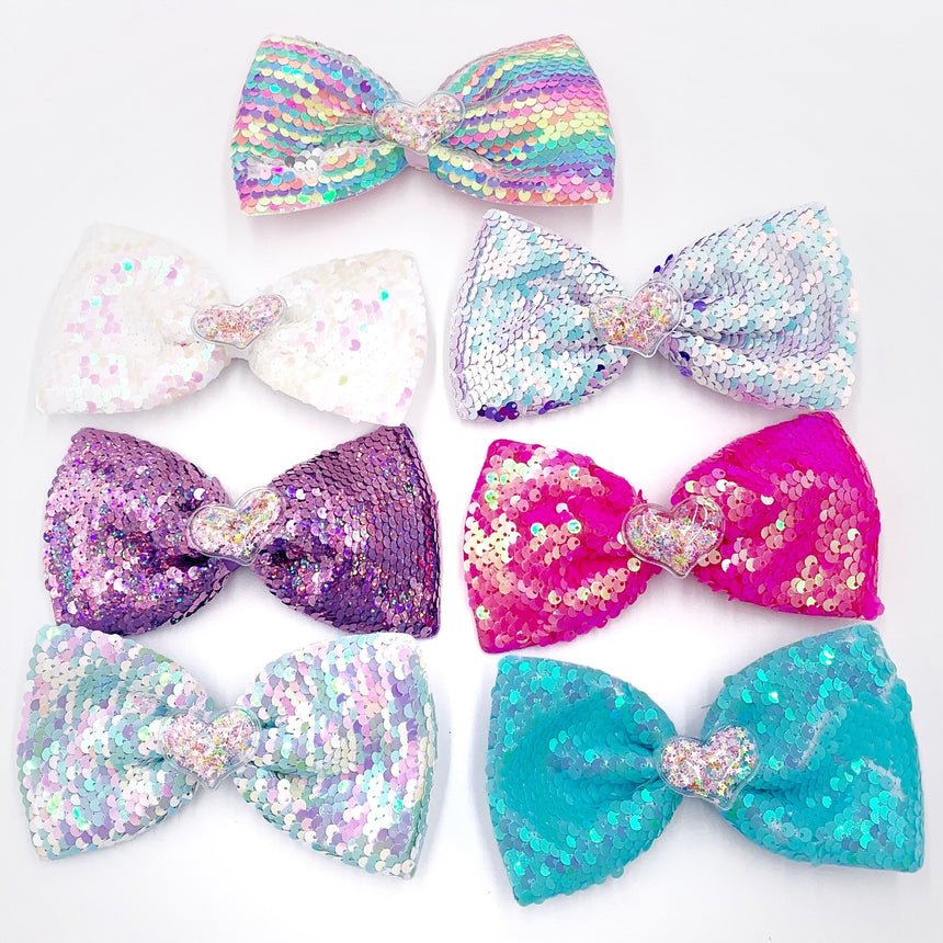 Confetti Heart Sequin Bow