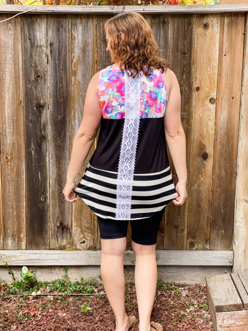 Crochet back floral color block top