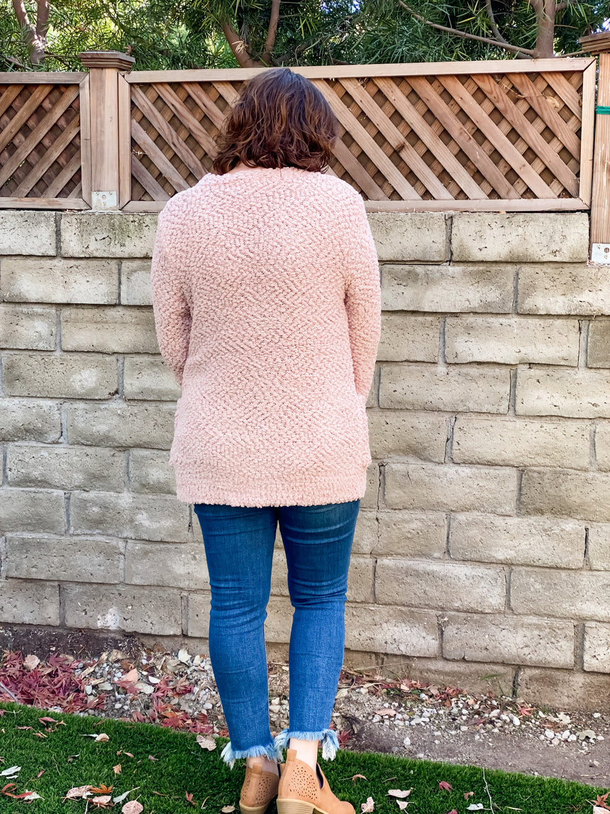 Dusty Blush Popcorn Cardigan