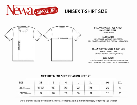 unisex tshirt size informations