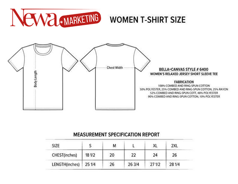 woman tshirt size informations