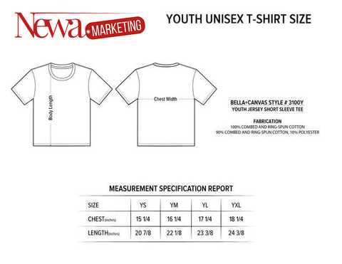 Youth tshirt size informations