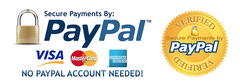 We accept Paypal and all credit cards. No Paypal account required