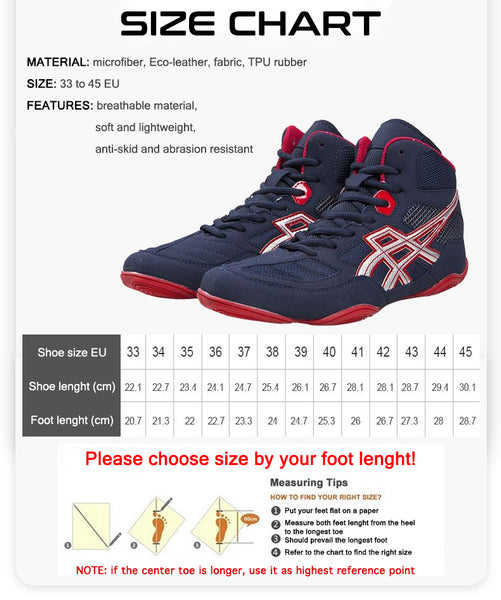 boxing shoes size chart and measurement instructions