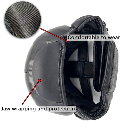 boxing helmet jaw protection feature and inside microfiber detail