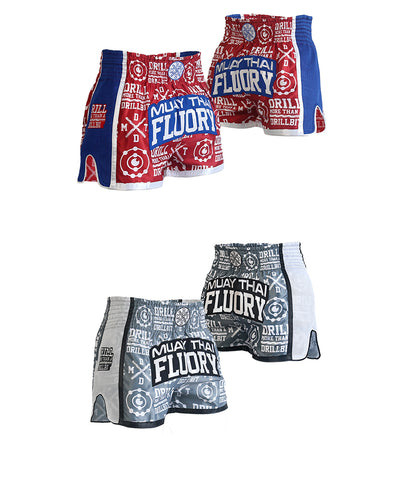 muay thai shorts blue/red and grey in front and back view