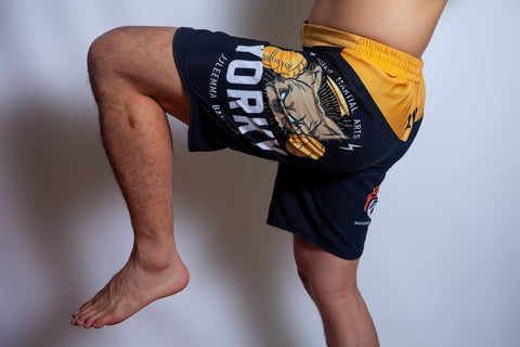 Official Yorky MMA Shorts action knee dog logo