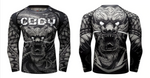 Front and back view No Gi Rash Guard Shirt MMA BJJ Active Wear - Dragon Within Edition