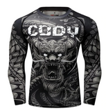 Front view No Gi Rash Guard Shirt MMA BJJ Active Wear - Dragon Within Edition