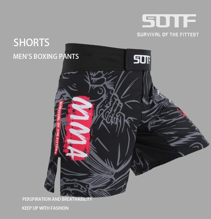 MMA Shorts side view graffiti MMA survival of the fittest