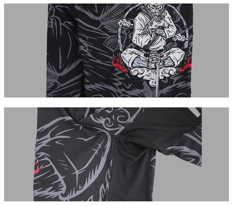 MMA Shorts 2 images showing elastic fabric under the groin and monkey king graphics