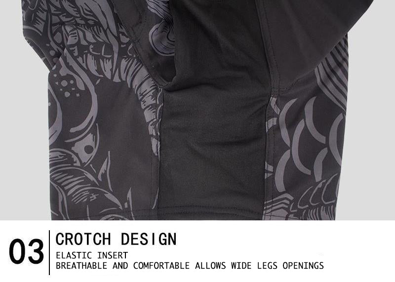detail of crotch design of MMA shorts with elastic, comfortable and breathable insert to allow wide legs openings