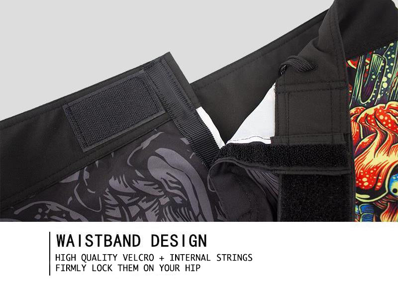 MMA shorts velcro and internal strings detail