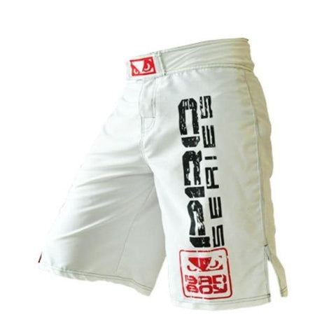 Side view with artwork of Bad Boy PRO Series MMA Shorts white color - Martial Arts Asia