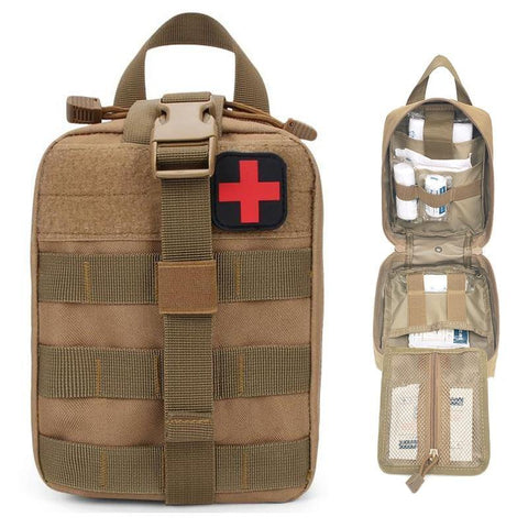 Beige brown First Aid Kit Bag front view and wide open - Martial Arts Asia